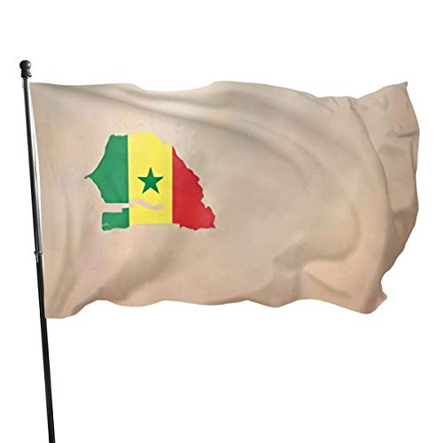 GOSMAO Bandera de jardín, Mapa de Senegal, Colores Vivos y Resistentes a la decoloración UV, Bandera de Patio con Doble Costura, Bandera de Temporada, Banderas de Pared, 150 x 90 cm