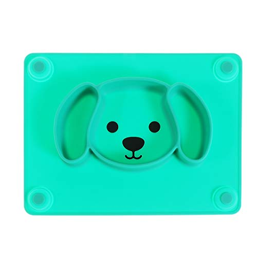UPKOCH Kinderteller mit Saugnapf Babyteller aus Silikon rutschfest Baby Tischset Schüssel für Baby Kleinkinder geeignet für Spülmaschine Mikrowelle (Hund Muster)