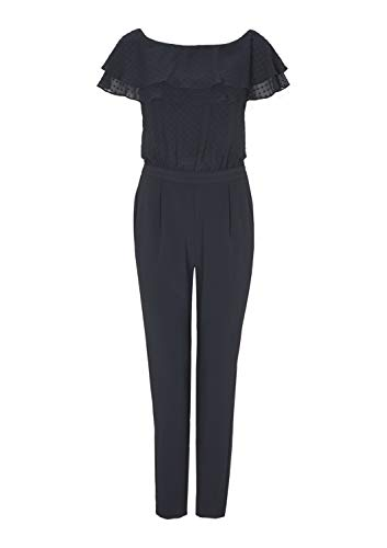s.Oliver BLACK LABEL Damen Jumpsuit mit Chiffon-Volants, dunkelblau - 2