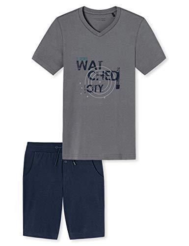 Schiesser Jungen Anzug Kurz Zweiteiliger Schlafanzug, Grau (Grau 200), 152