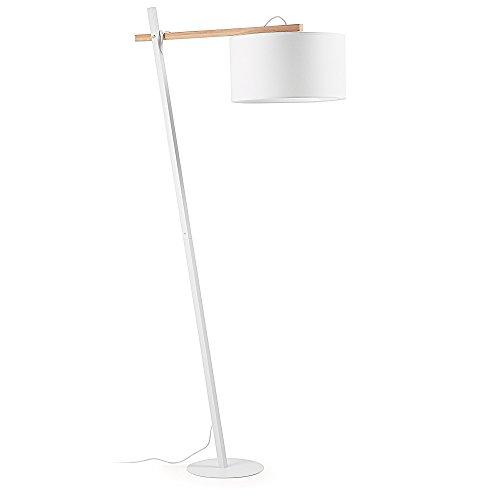 Kave Home - Lámpara de pie Aimy blanca de acero, madera de haya y algodón 100%