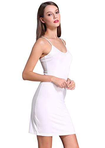 Coreal Full Slip for Women Under Dress Adjustable Spaghetti Strap Knee Length Slips Undergarment Nightwear White