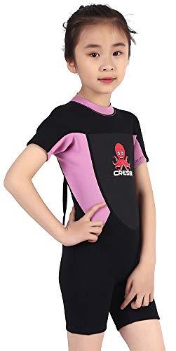 Cressi Smoby Shorty Wetsuit Traje de Neopreno 2mm para niños, Unisex-Baby, Negro/Rosa, 8/9 Años