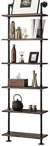 CLYZ Ladder Bookshelf Industrial Pipe Dedication Fees free Rustic Wood Shelves