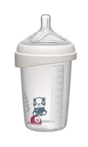 NIP first moments Babyflasche Silikon: 270 ml, M Sauger, mit extra breiter Lippenauflage speziell für Neugeborene