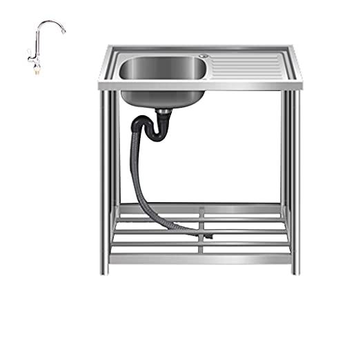 Kitchen Sink. Fregadero de Acero Inoxidable, Tanque Individual con Soporte, encimera, Fregadero de Piso Simple Integrado, Cocina, hogar, habitación de Alquiler, Comercial