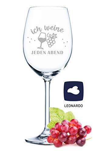 Copa de vino Leonardo con grabado – Ich Weine Jeden noche – Regalo para aficionados de verano y amantes del vino – Copas de vino – Regalo de cumpleaños para mujeres y hombres