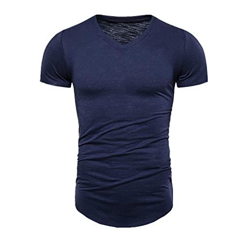 Verano Camisetas Hombres Casual Estilo Largo Slim Fit Camiseta de los Hombres