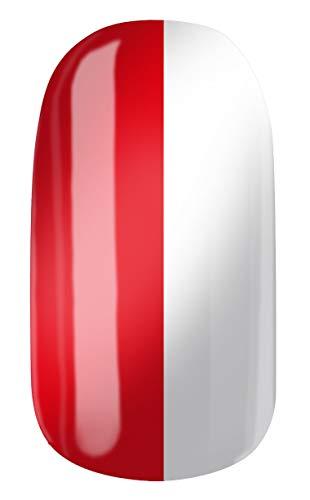 VENGANAILS Nagelfolie - Club Rot-Weiss, Nägel in Vereinsfarben und Nationalfarben, Fanartikel für weibliche Fußballfans, Selbstklebend, Kein China Import, NEU