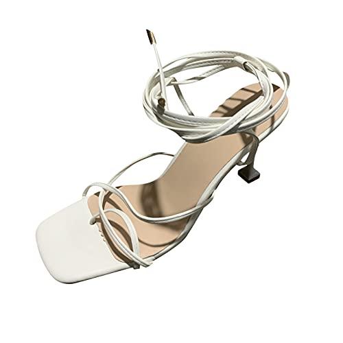 FNKDOR Testa Quadrata Sandali Estivi Donna con Tacco Alto Elegant Moda Sandali Romani con Ankle Straps bianco 37