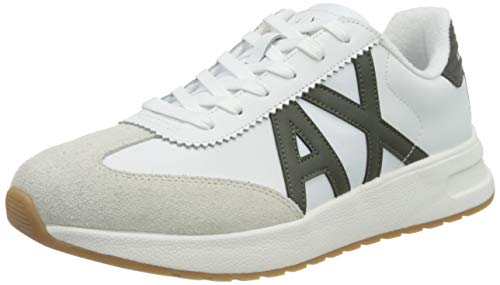Armani Exchange Leather Suede Sneakers, Zapatillas para Hombre, Optic White Green, 45 EU