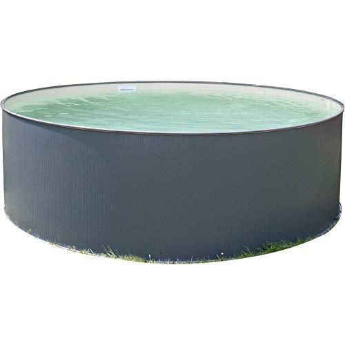 Planet Pool Rundbecken-Set Anthrazit 450x120cm, (SW:0,4 IH:0,4 blau) 5 teilig