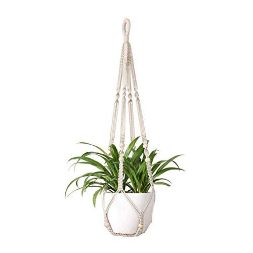 Hacoly Makramee Blumenampel 12 Perlen Hängeampe Blumentopf Baumwollseil Hängeampel Blumentopf Pflanzen Halter für Innen Außen Balkone Dekoration - 90cm