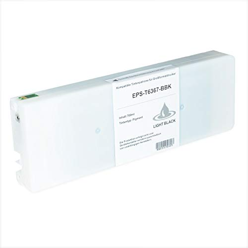 Tintenpatrone kompatibel für Epson Stylus T6367 C13T636700 Pro WT 7700 7890 7900 9700 9890 9900 SpectroProofer UV Series EFI - Light Schwarz 700ml