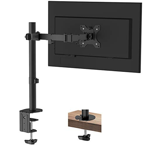"""PUTORSEN Supporto da scrivania con Braccio Singolo per Monitor LCD LED da 13"""" a 32"""", con Circa +90° di inclinazione, Rotazione a 360°, Braccio Girevole a 180°, VESA Max 100x100, Portata 8 kg"""