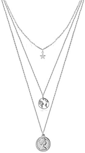 TYWZH Collar Cadenas Multicapa Estrellas de Acero Inoxidable Belleza S Cabeza Redonda Mapa del Mundo Colgantes Collar Joyería N