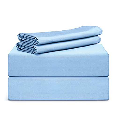"""TAFTS Bamboo Sheets King Size - 100% Pure Bamboo Viscose Sheet Set - 400TC Bamboo Bed Sheets - 4 Pieces - 17"""" Deep Pocket - Silk Feel, Cooling, Anti-Static, Hypoallergenic (Sky Blue)"""
