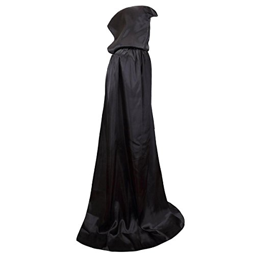 Damen Herren Halloween Umhang Karneval Fasching Kostüm Cape mit Kapuze Schwarz - 2