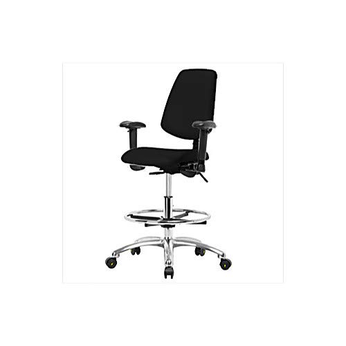 Thomas 1163W14 ESD/Cleanroom Vinyl Medium Bench Height Chair with Medium Back, Chrome Base, With Tilt, Adjustable Arms, Chrome Foot Ring, ESD Glides, Black