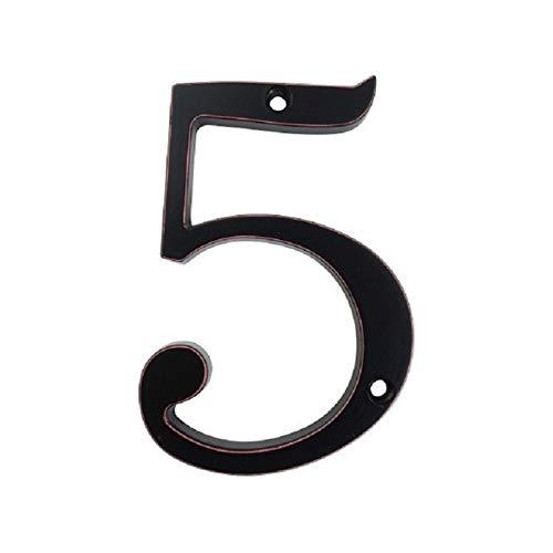 Tiober Signo de número 101mm Negro Puerta de la casa de Big Huisnumer Exterior números de buzón Dirección hogar Moderno Apartamento Carteles de Chapa de aleación de Zinc de 4 Pulgadas (Color : 5)
