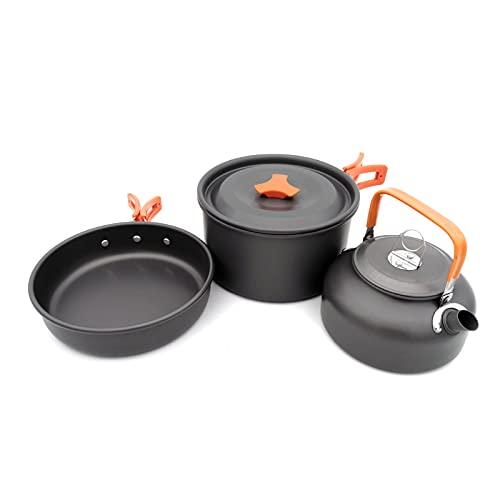 Utensilios Cocina Camping Kit,Juego De Utensilios Cocina Camping con Ollas Y Sartén De Aluminio para Acampada (Naranja)