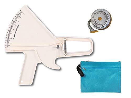Slim Guide Caliper Hautfalten-Messschieber-Kit Mit Hülle, BMI-Maßband, Transporttasche (Weiß)