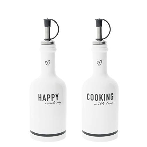 Bastion Collections Flaschen Set Happy & Cooking 2tlg. Keramik