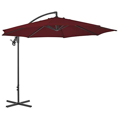 vidaXL Sombrilla Voladiza con Poste Parasol Exterior Patio Terraza Protección contra Rayos Ultravioleta Playa Piscina Toldo Acero Rojo Burdeos 300 cm