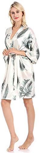 AGLOAT Ropa De Dormir De Las Señoras, Homewear del Tamaño/Pijamas Casuales De La Familia del Camisón con Cuello En V Impreso Seda del Camisón,Large