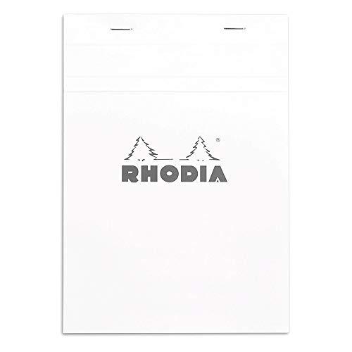 Rhodia 16201C - bloc agrafé en-tête N°16 White, A5 (14,8x21 cm), 80 feuillets détachables, petits carreaux 5x5, papier Clairefontaine blanc 80 g/m²