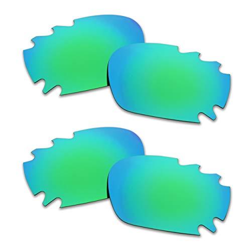 SOODASE Para Oakley Racing Jacket Vented Asian Fit Gafas de sol Verde 2 Pares Lentes de repuesto polarizadas