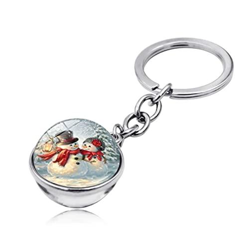YIPUTONG Porte-clés de Noël Noël Boule de Verre Double Face Porte-clés Bonhomme de Neige Porte-clés en métal Cadeau de Noël pour Les Enfants sœurs Amis