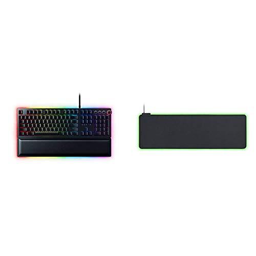 Razer Huntsman Elite Mechanische Gaming Tastatur (mit Opto-Mechanical Schaltern, Multifunktionaler digitaler Drehregler) & Goliathus Chroma weiches RGB Gaming Mausmatte