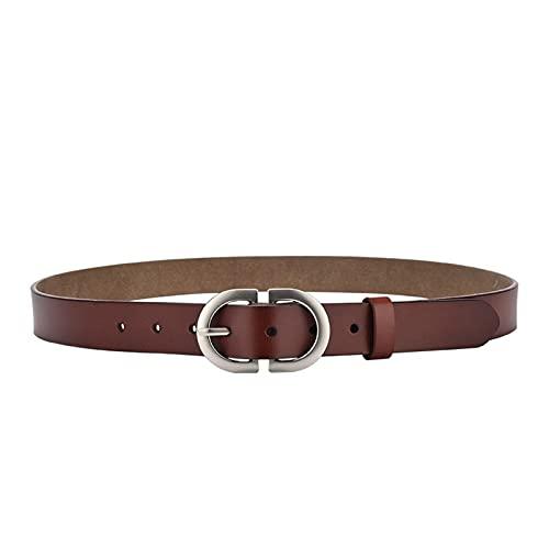 XIN NA RUI Cinturón para mujer, 130 cm, hebilla de metal ajustable, para mujer, cinturón para mujer, cinturón de cintura (color: marrón oscuro, tamaño: 105 cm)