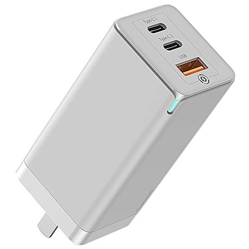 YZCM USB C Charger, 65W 3 Port PD 3.0 Type C Fast Charger Adapter Power Delivery Foldable Adapter, USB Wall Charger for Macbook, USB C Laptops, Iphone And More,White