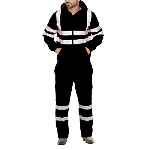 Celucke Trainingsanzug Herren Jogginganzug im Feuerwehr-Design mit Kapuzenjacke Jogginghose, Männer Herbst Winter Sportanzug Casual Sport Sweatjacke Traininghose Set (Schwarz, 3XL)