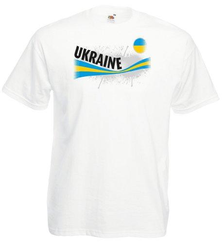 world-of-shirt Ukraine Herren T-Shirt Vintage Trikot|weiß M