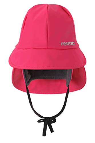 Reima Kinder Regenhut Rainy Candy Pink– Regenhut für Kinder aus flexiblem Material – wasserdichte Kinder Regenmütze mit reflektierenden Details und Wassersäule Mind. 8000mm – Größe 50