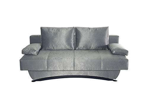 Collection AB B-famous Nikola Schlafsofa mit Bettfunktion und Bettkasten, Luxsus Microfaser schimmernd grau, Luxus, 190x94x88