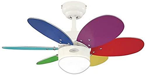78673 Ventilateur de plafond d'intérieur à six pales et une lampe Turbo II de 76 cm, finition en blanc avec verre opale dépoli