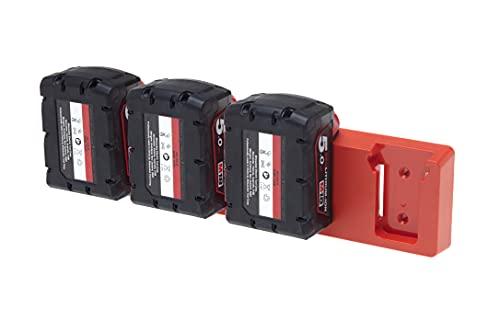 Soporte de batería para Makita de 18 V   Bosch, Festool   DeWalt   Hilti   Milwaukee   Ryobi   Hiki   AEG   48 herramientas   Soporte de batería 18 V (rojo oscuro)