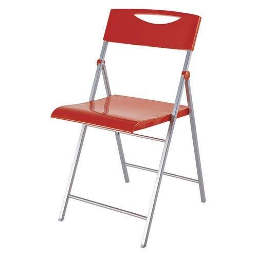 Alba CPSMILE - Silla Plegable, Acero/ABS, 42x 47x 82cm, Color Rojo Brillante