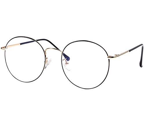 ROSA&ROSE Blaulichtfilter Brillen Computer Gaming Brillen Anti Müdigkeit Lesebrille für Herren Damen – UV Schutz (Schwarz +Gold)
