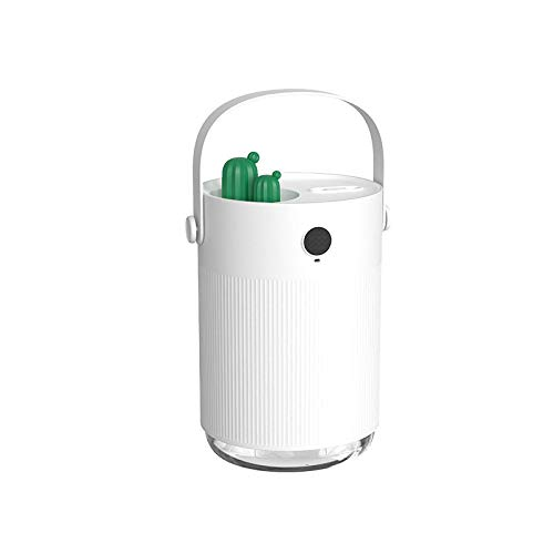 RIIOO USB humidifier household desktop 1L large capacity cactus double spray humidifier, used in large household spaces, does not dry when the air conditioner is turned on White