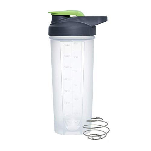 LYMUP Shaker proteína de plástico con Acero Inoxidable de Mezcla Gym Ball Copa Vortex Mixer Agitar la Botella,Copa con Tapa (Color : Green)