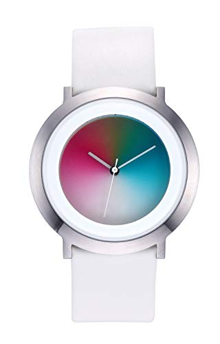 Colour Inspiration, Unisex Armbanduhr Quarz, Serie ONE Gamma M, Lederarmband, rundes 44 mm Edelstahlgehäuse, Armband: weißes Leder Dornschließe, Breite Armband:22 mm