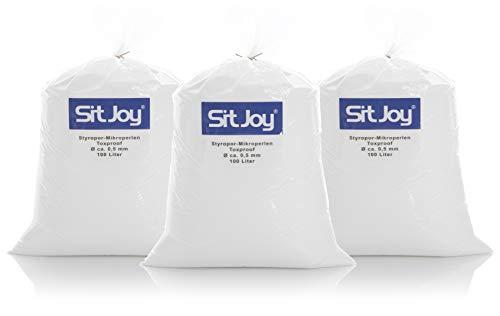 Sitjoy Sitzsack-Füllung | Styropor-Mikro-Perlen schadstoffgeprüft [Ø ca. 0,5 mm] | 300 Liter | Nachfüllbeutel – Füllmaterial für Sitzsäcke und Stillkissen