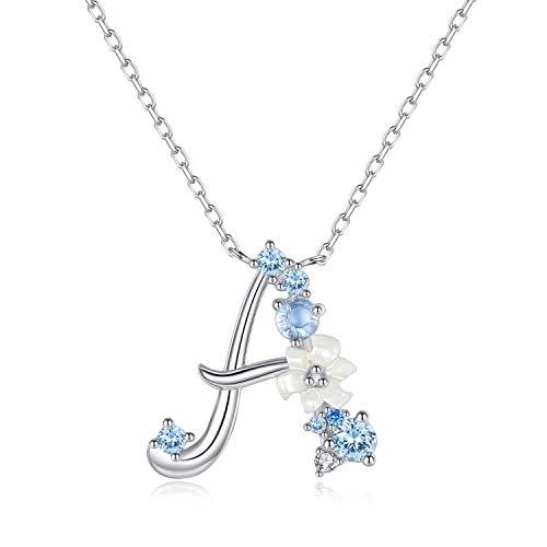 VIKI LYNN Letter A Initial Necklace 925 Sterling Silver Cubic Zirconia Personalised Gifts for Girls