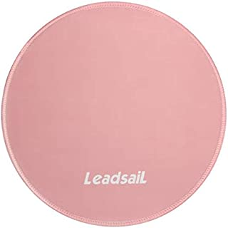 LeadsaiL [30% Larger] Mouse Pad with Stitched Edge Premium-Textured Mouse Mat Waterproof Non-Slip Rubber Base Round Mousep...