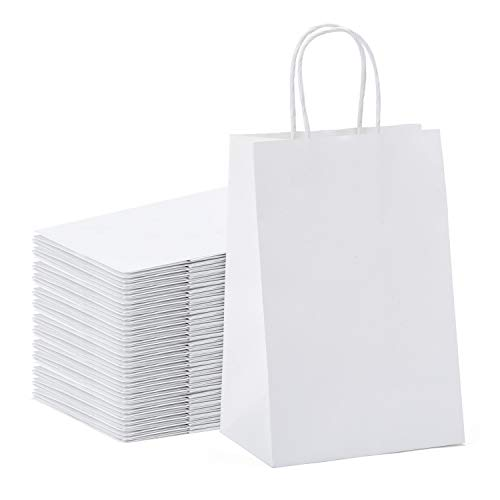 GSSUSA 100 Pcs White Kraft Paper Gift Bags 5.25x3.75x8, Paper Bags with Handles for Shopping, Gift, Merchandise, Retail, Party Favor, Gift Bags, Bags for Small Business, Boutique, Bolsas de Papel